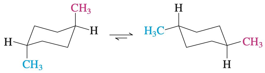 反-1,4-二甲基环己烷的两种构象