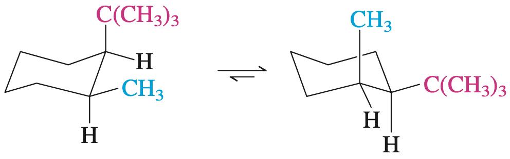 反-1-甲基-2-叔丁基环己烷的两种构象