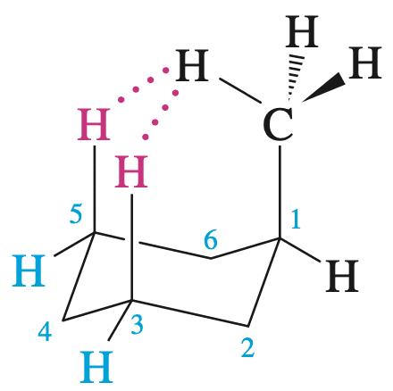 甲基中的氢与3号与5号位的直立氢的距离大概在190-200pm,小于两个氢原子的范德华半径之和240pm